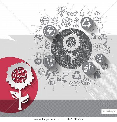 Paper and hand drawn flower emblem with icons background