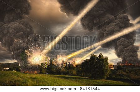 Meteorite Shower Over A City