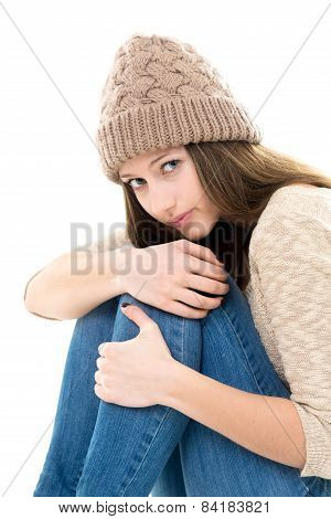 Frightened Teenage Girl Curled-up