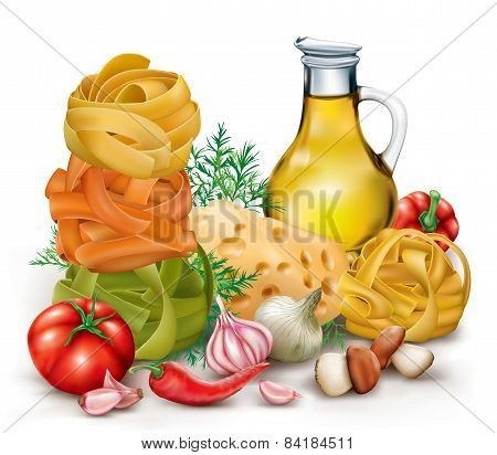 Pasta Tagliatelle And Vegetables