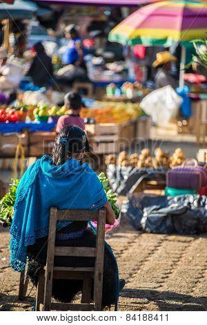 Women At San Juan Chamula, Inhabited By Indigenous Tzotzil Maya People, Traditional Market, Selling