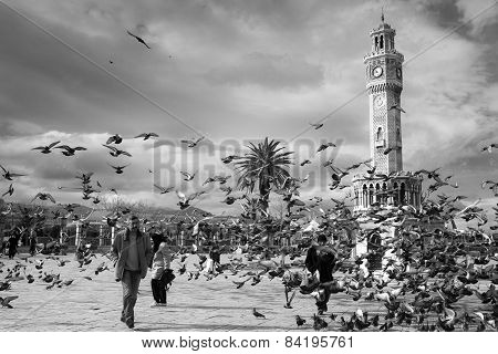 Doves Flying Near The Old Clock Tower, Izmir, Turkey