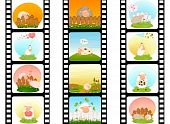 blank film colorful strip with sheep on a white background for a design poster
