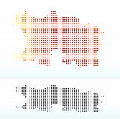 Vector Image - Map of Bailiwick of Jersey British Crown dependency with Dot Pattern poster
