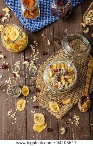 Homemade Yogurt With Granola, Dried Fruit And Nuts Bio