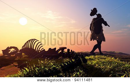 Primitive man and dinosaur skeleton
