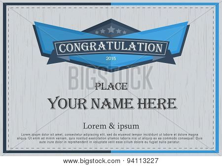 Congratulation Frame Vintage Retro Background Design Template