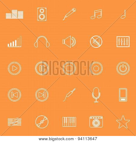 Music Line Icons On Orange Background