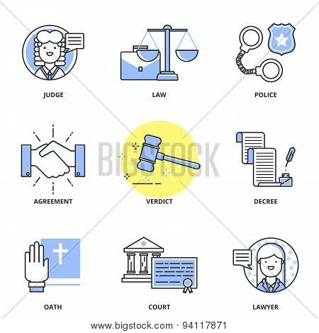 Law Vector Icons Set