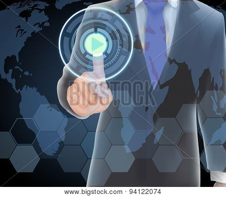 Businessman of visual touch screen
