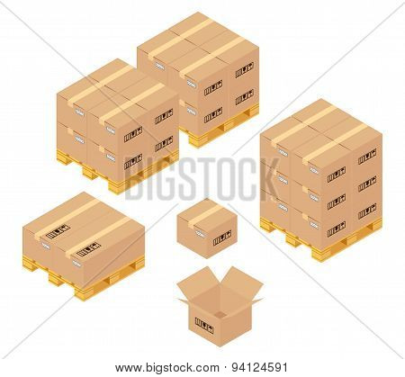 Cardboard boxes in warehouse. Storage, delivery and logistics services
