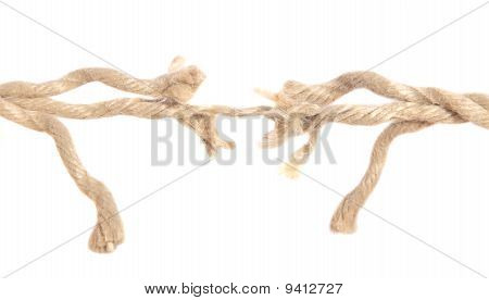 Hemp rope right before ripping apart