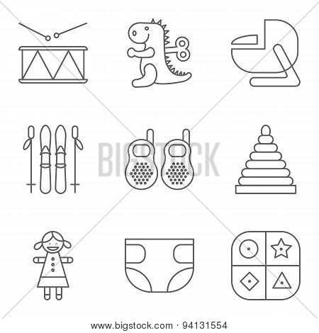 Baby thin line related vector icon set