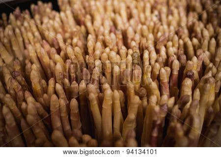 Bunch Of White Asparagus Sold On Vegetable Market