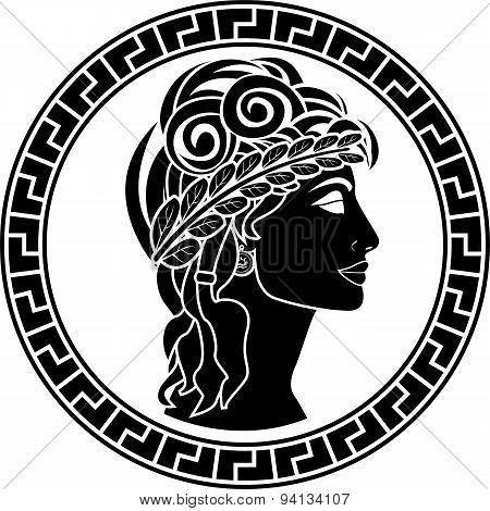 Black Stencil Of Patrician Women