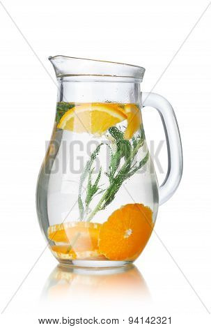 Glass pitchers with tarragon (tarkhun) infused detox water poster