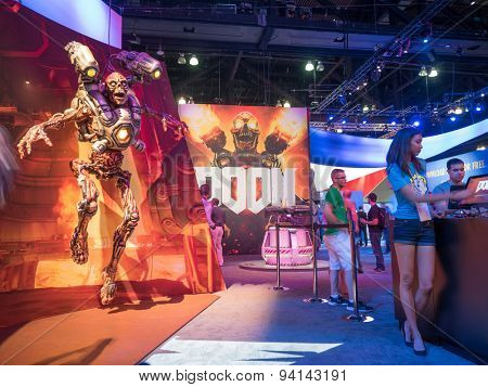 LOS ANGELES - June 17, 2015: Doom game booth at the E3 2015 expo in Convention Center. Electronic Entertainment Expo, commonly known as E3, is an annual trade fair for the video game industry.