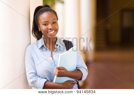 attractive african American female college student on campus