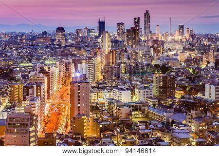 Tokyo, Japan skyline viewed from Bunkyo Ward towards Shibuya Ward.