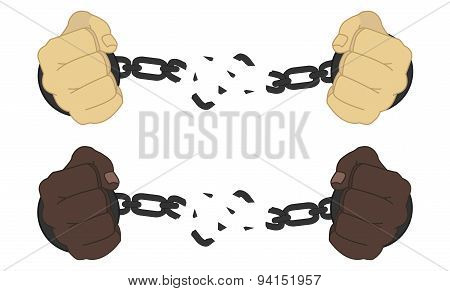 Male hands breaking steel handcuffs