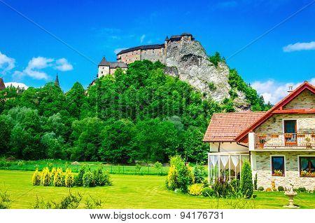 One of the most beautiful Slovak castles, Orava castle and surrounding buildings, Oravsky Podzamok, Slovakia poster
