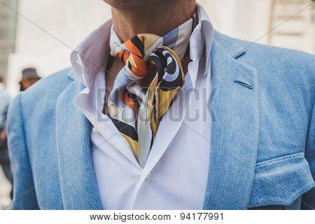 Detaill of a man Outside Ferragamo Fashion Show Building For Milan Men's Fashion Week