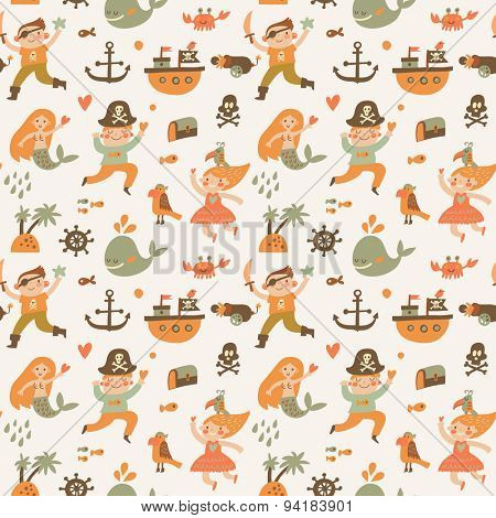 Lovely boys and girls in pirate costumes in cartoon seamless pattern. Sweet halloween background with pirates, anchor, ship, whale, crab, parrot, mermaid and island. Awesome seamless pattern in vector