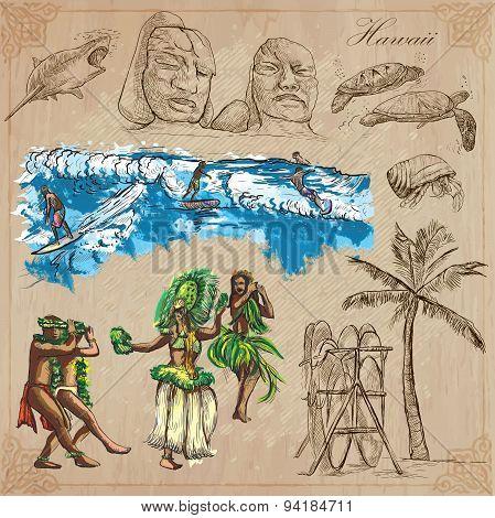 Hawaii - Travel. An Hand Drawn Vectors, Pack.