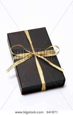 Black Gift Box With Gold Ribbon