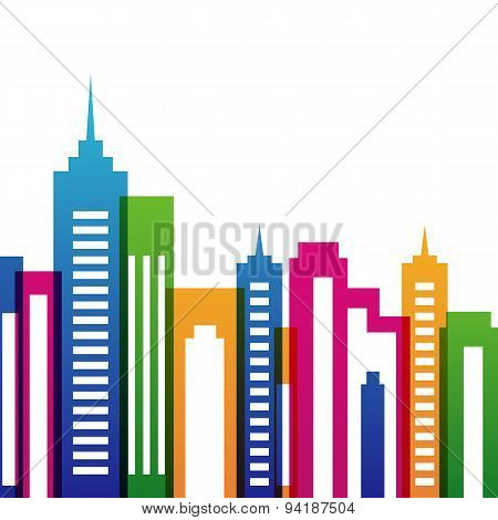 Vector Multicolor City Buildings Silhouette, Abstract Background. Concept For Real Estate Agency, Bu
