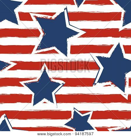 Happy 4Th Of July, Usa Independence Day Background. Vector Seamless Flag Pattern, Watercolor Blue St