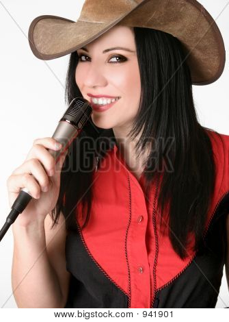 Friendly Country Girl With A Microphone