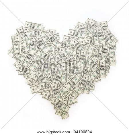 Heart of banknote denominations of 100 dollars. Background with money american hundred dollar bills. Love and money, love of money concept.