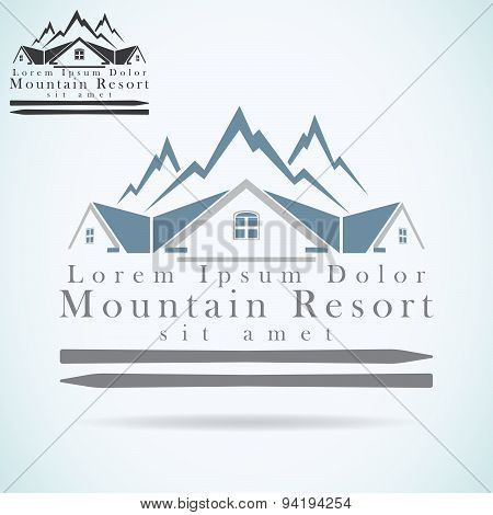 Mountain Resort Vector Logo Design Template. Rooftop Icon. Realty Construction Architecture Symbol