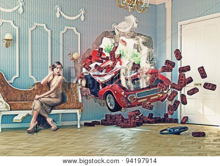 red car breaks the wall in luxurious interior with frightened woman. photo combination  creative concept