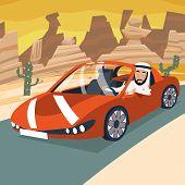 Retro Cartoon Sport Car Transport Arab Driver City Riding Desert Road Backgorund Vector Illustration poster