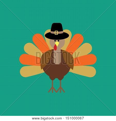 Thankgiving day turkey on the green background. Vector illustration