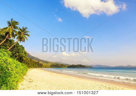 Sunny day Beach on Mahe island Seychelles
