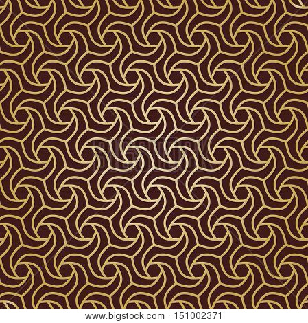 Seamless geometric pattern by stripes. Modern background with repeating lines. Seamless geometric background. Brown and golden pattern
