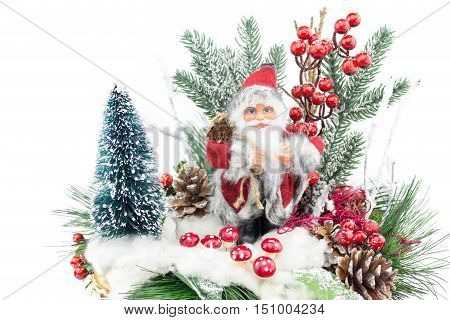 Christmas dish with santa Claus tree and decoration isolated on white