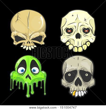 Set of halloween skulls. halloween Symbol of day of the dead or halloween. Spooky halloween skeleton head. Halloween Flat design. Halloween Isolated vector illustrations