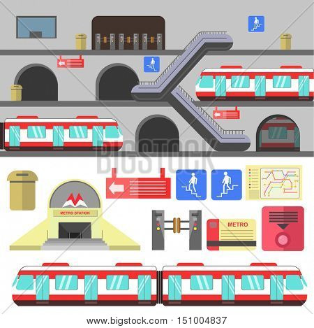 Metro rail station illustration. Vector subway flat icons. Set of underground symbols: train, map, escalator, navigation signs, turnstile. Urban public transport. Isolated on white background.
