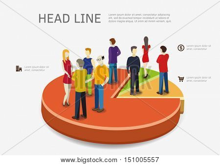 People are standing on pie chart. Infograpic concept vector design.