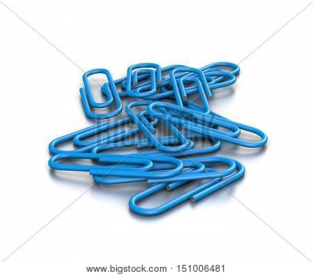 Heap Of Blue Paperclips