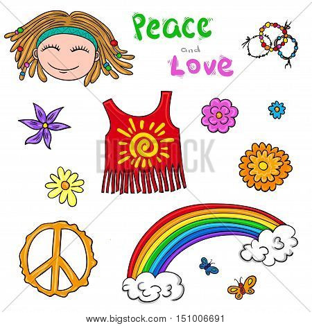 Hippie symbols set - vector isolated elements. Flower children collection or pattern vector.