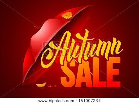 Seasonal autumn sale background with autumn leaves and red umbrella. Lettering with calligraphic inscription Autumn Sale. Vector stock illustration.
