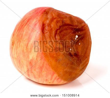rotten apple isolated on a white background.