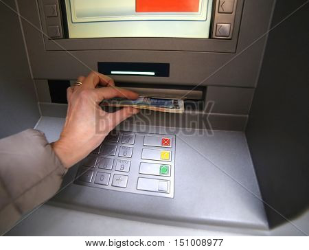 Woman While Getting Money From Atm