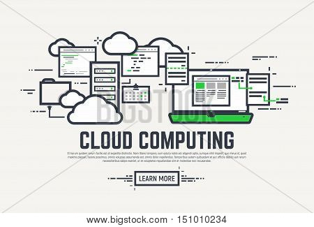 Flat style thick and thin line design concept. Set of application window servers laptop and clouds. Cloud computing technology banner.
