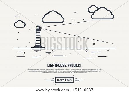 Flat style thick and thin line design concept. Lighthouse with beam lighting into the distance in sea. Clouds and waves with dots and lines. Abstract business lighthouse illustration.